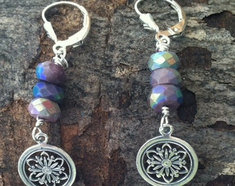 Sterling Flower Spheres with Mystic Sugilite Earrings