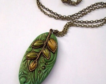 Autumn Leaves Polymer Clay Pendant Necklace