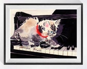 4. Funny Wall Art Cat Artwork, Watercolor Print Himalayan cat grey watercolor siamees kitten painting, Fun piano kitty art, Nursery decor C