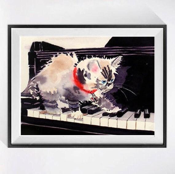 4. Funny Wall Art Cat Artwork, Watercolor Print Himalayan cat grey watercolor siamees kitten painting, Fun piano kitty art, Nursery decor C