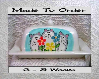 Cats & Flowers Butter Dish Handmade Ceramic Original by Grace M Smith
