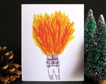 Funny Christmas Card, Funny holiday card, Holiday card, Christmas card, Weird Christmas, Fire, Gift idea, Gift for men - Exploding Gift