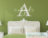 Name Wall Decal Script Lettering -Name Initial Trendy Monogram - Any Name or Word Kids Boy Girl Dorm Room Modern Nursery Decor Wall Sticker