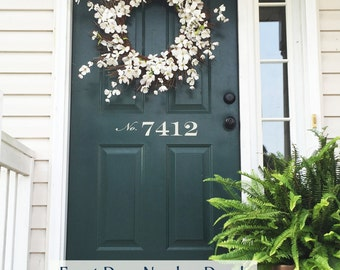 Front Door Number Decal • Street Number on your Front Door Adds Curb Appeal - House Address Number Door Decal Spring Decor Made in USA