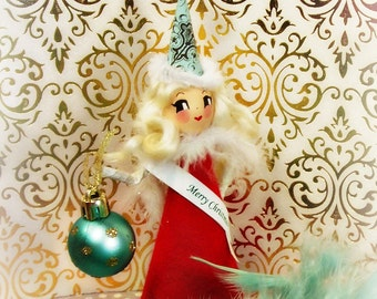 Merry Christmas doll tree topper red and white vintage retro inspired holiday decor blond doll party decor toni Kelly original