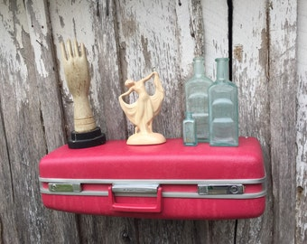 Wall Shelf made from Vintage 1970's Era Rosey Pink Royal Traveller Suitcase Luggage Repurposed Travel Inspired