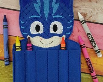 Blue PJ Catboy Hero Felt Crayon Holder * Bedtime Hero Crayon Holder * Coloring