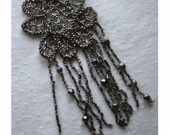 Antique CUT STEEL Bead / Beaded APPLIQUE with Dangling Fringe - Victorian Era - Hand Made