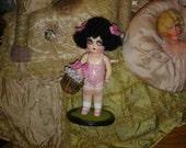 Vintage Kewpie Flapper Doll Repaint Black Hair
