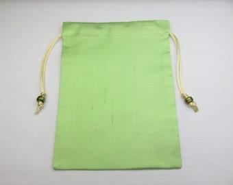 """Light Green Handmade Pure Silk Tarot Card Bag, Tarot Card Pouch 5"""" x 7"""""""
