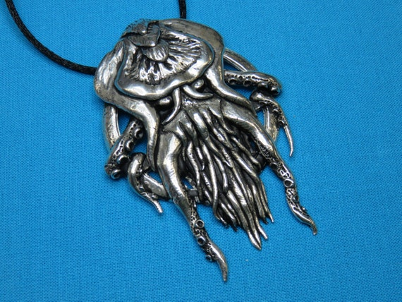 cthulhu necklace pendant jewelry handcast in lead free silver