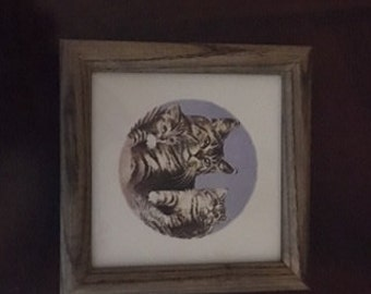 Vintage Mother Cat and Kittens Tile Framed - new old stock