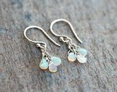 Ethiopian Opal, Gemstone Trio Wire Wrapped Sterling Silver Earrings, October Birthstone Earrings, Birthstone Jewelry, Opal Earrings