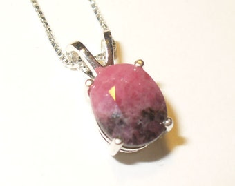 Faceted Bi-Color Rhodonite Pendant Necklace in Sterling Silver