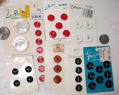 Reserved for LCT 37 Vintage Buttons Cards Red White Black Sewing Ephemera Findings Small Large Two Double Hole Antique New 1960s 1970s 1980s