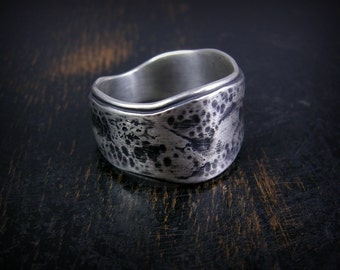 Made to order tapered wide band, double layer sterling silver with rustic, oxidized organic patina