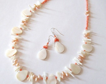 Pearl, Coral, Mother of Pearl Necklace Earring Set, One of a Kind, Sterling Silver,  Ocean Beach, Sea Mermaid