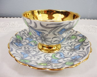 Vintage Rosina Gray, Green and Blue Floral Bone China Teacup and Saucer Gifts for Her Tea Party
