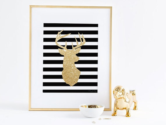 Gold deer head art print gold glitter deer antlers home wall decor