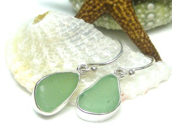 Seafoam Green Sea Glass Bezel Set Earrings | Sea Glass Earrings | Beach Glass Earrings | Soft Green Earrings | Sterling Silver