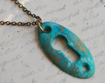 sale - skeleton key keyhole necklace pendant with a verdigris patina - antique skeleton key jewelry