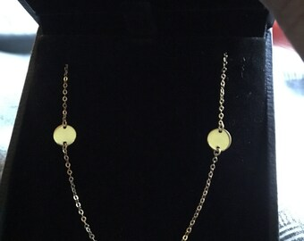14K Solid Gold round dot disc station necklace chain adjustable convertible necklace pendant