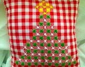 Christmas tree embroidered on Gingham