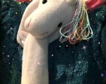 Animal Scarf, X-Long Unicorn Stuffed Animal White with Magical Rainbow Hair