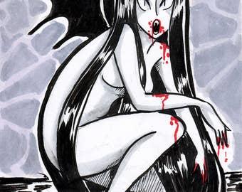 Inktober Vampire 5x7