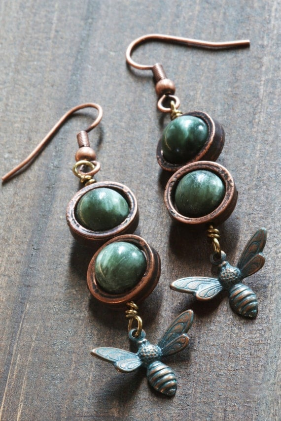 Steampunk Earrings - Seraphinite and verdigris antiqued bee charm