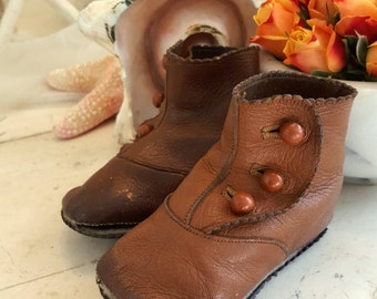Antique Brown High Button Baby Shoes for French or German Bisque Doll - Well Worn -
