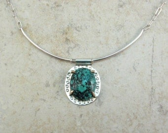 Turquoise Collar Necklace - Sterling Silver and Bronze Modern Tribal Style Necklace