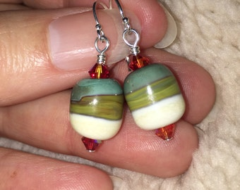 Lampwork earrings, southwest style with flair