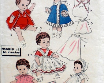 Genuine Vintage 1950s Baby Doll Clothes Pattern Butterick 8351 8 Inch Doll Clothing Pattern