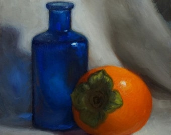 Original Oil Painting, Persimmon and Blue Bottle