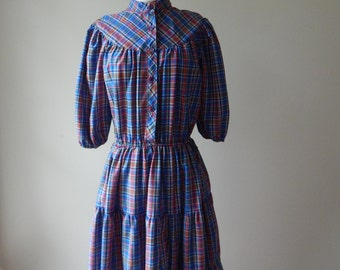 70s plaid Vintage Prairie Dress