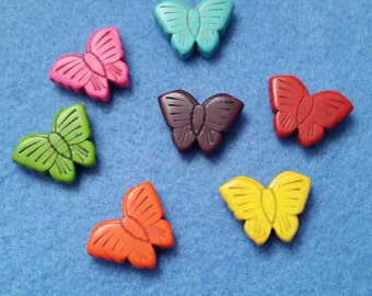 Seven Rainbow Howlite Butterfly Beads carved dyed drilled bead assortment butterflies