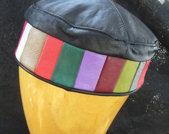 Leather Kufi Hat or Crown in Black with Colorblock Sideband