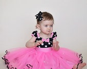 MINNIE MOUSE dress TUTU   Minnie Mouse Party Dress  in Hot pink  with black Polka Dots 1st Birthday party