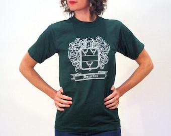 70s DesJardins Tee, Dark Green Family Crest T-shirt, Vintage Coat of Arms T-shirt, Desjardins T-shirt, Size S