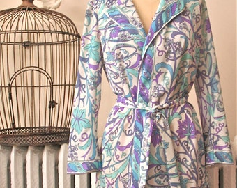 Emilio Pucci for Formfit Rogers    Iris Morning   Vintage 1960's Short Robe with Belt - Teal and Purple Op Art Print