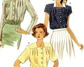 Vogue 8355 Easy Blouse Top Shirt Button Front Pleats at Yoke Plus Size 20 22 24 Uncut Vintage Sewing Pattern 1992