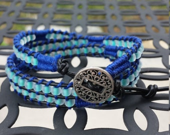 Frosted mint green and blue leather triple beaded wrap bracelet