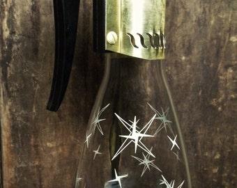Vintage White Atomic Starburst Glass Coffee Juice Serving Carafe