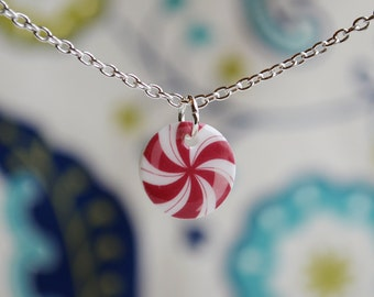 Candy cane necklace, cute Christmas jewelry