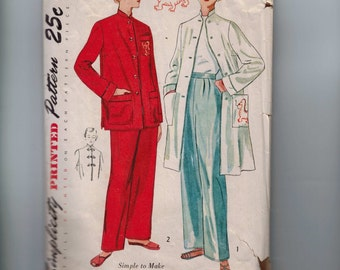1950s Vintage Sewing Pattern Simplicity 3354 Misses Two Piece Pajama Coat Mandarin Style with Dragon Applique Size 12 Bust 30 50s INCOMPLETE