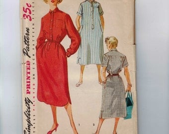 1950s Vintage Sewing Pattern Simplicity 4761 Junior Misses Shirt Dress Loose Size 11 Bust 29 50s