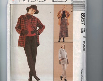 1990s Sewing Pattern McCalls 8957 Misses Easy Unlined Jacket Vest Skirt Pants Size 14 16 18 Bust 36 38 40 1997 90s UNCUT  99