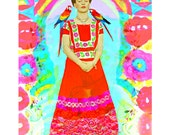 Frida Kahlo Parrots Print Instant Digital Download Photomontage Turquoise Blue Green Red Yellow Black White Small t Poster Birds Aqua Purple