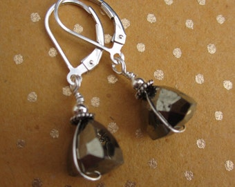 Pyrite trillions fools gold and sterling dangle earrings